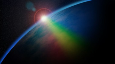 宇宙にかかる虹