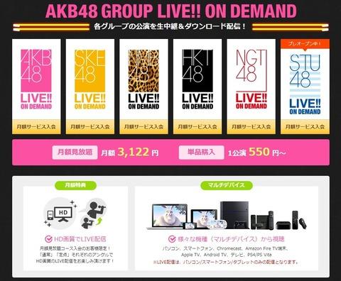 【AKB48G】DMM LIVE!! ON DEMAND月額会員の妥当な値段