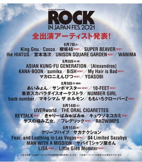 【吉報】櫻坂46と柏木由紀さんがロッキンジャパンフェス2021に出演決定!