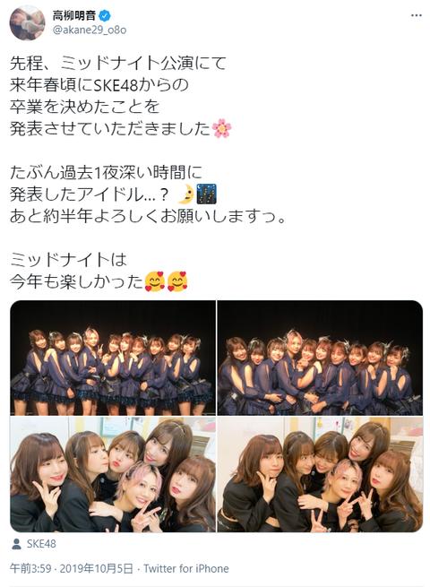 【祝】SKE48高柳明音さん、卒業発表からの最長在籍記録更新!!!