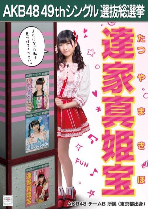 【AKB48】達家真姫宝「今年は自分に500票以上入れました」