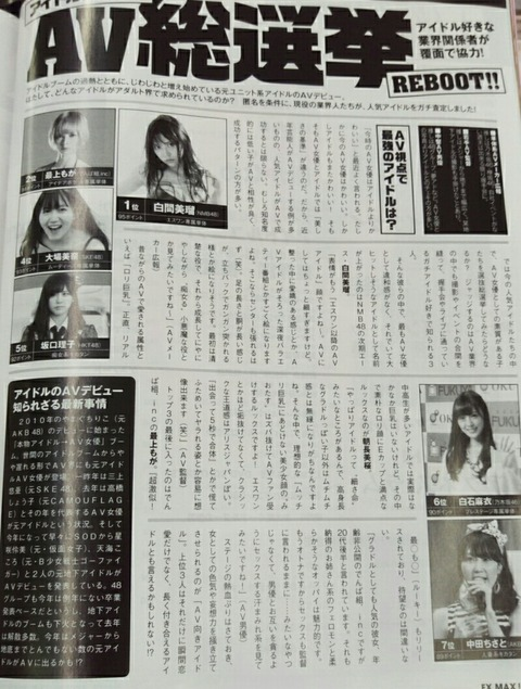 【AKB48G】「アイドルAV総選挙」1位に白間美瑠、2位に朝長美桜がランクインwwwwww
