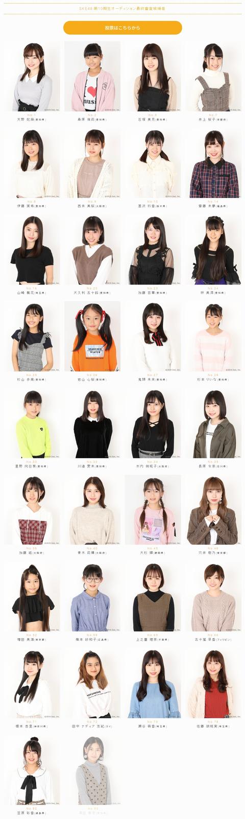 [SKE48] 34 candidats finaux pour la 10ème audition seront annoncés ...