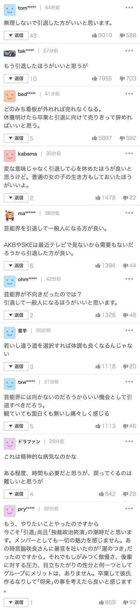 【悲報】ヤフコメ民「松井珠理奈は引退た方がいい」で意見が統一されしまう