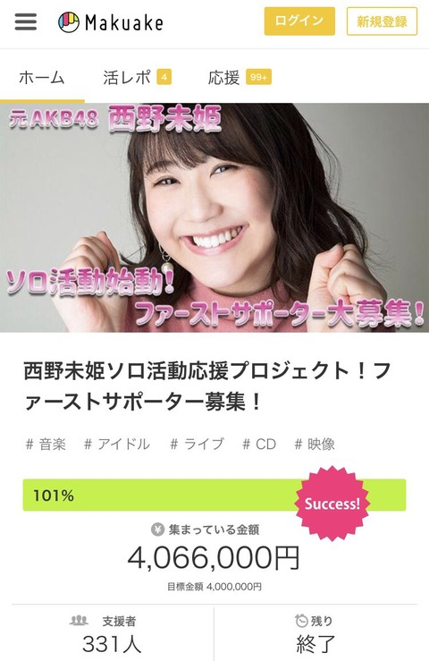 【元AKB48】西野未姫クラウドファンディング目標達成でライブ・CD・新曲3曲・MV作成決定