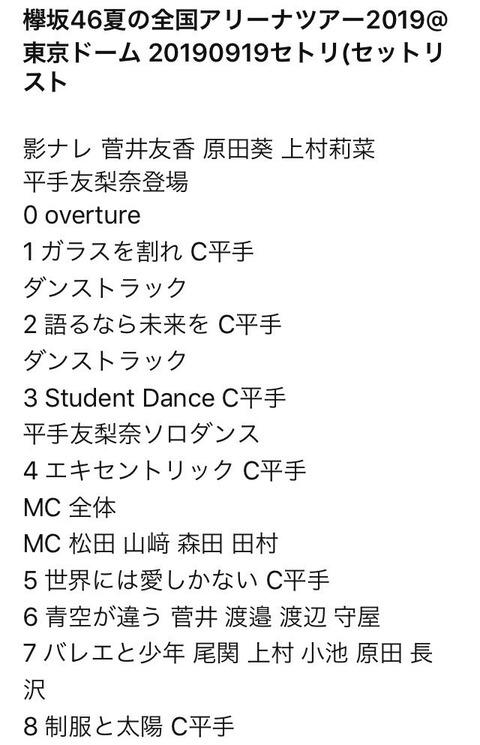 【欅坂46】平手友梨奈東京ドームソロコンサートのセットリストがこちらwwwwww