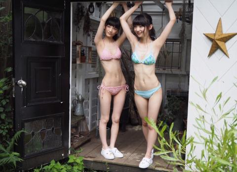 【NGT48】荻野由佳と太野彩香の水着、ガリガリすぎてヤバい・・・