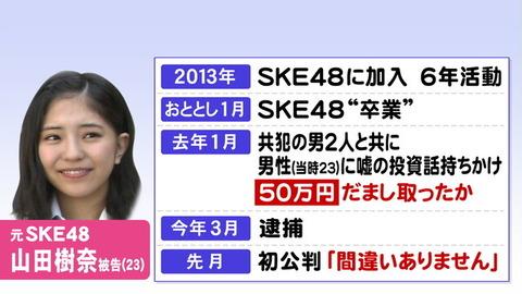 【元SKE48】山田樹奈容疑者、自称被害者女性の親がヤフコメに降臨
