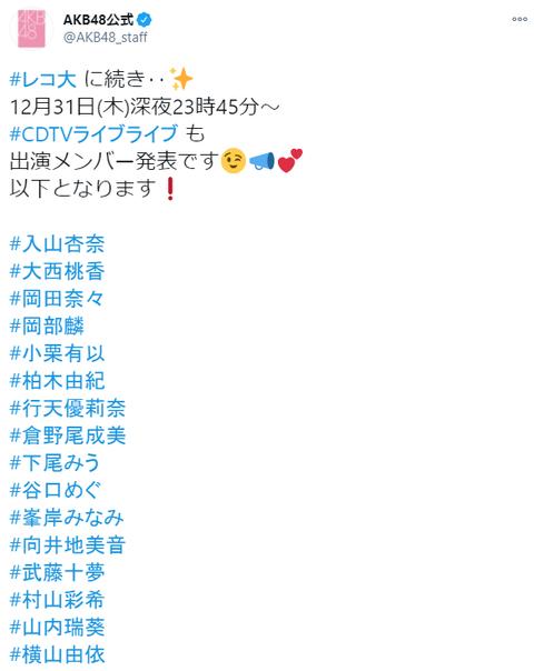 【AKB48】CDTV年越しスペシャル出演メンバー発表キタ━━━━(゚∀゚)━━━━!!