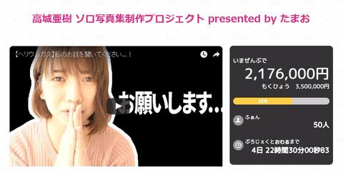 【悲報】高城亜樹ソロ写真集制作プロジェクト、目標金額達成無理じゃね?