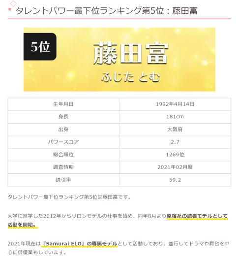 【悲報】渡辺美優紀にコロコロされた藤田富、タレントパワー最下位ランキング第5位に晒し上げられるwww