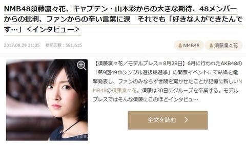 【モデルプレス】須藤凜々花「自分を貫いてごめんなさい。こんなクズでごめんなさい」