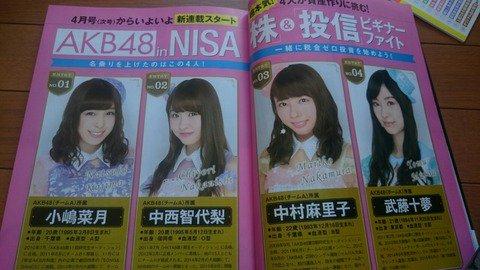 【AKB48】中村麻里子、中西智代梨、小嶋菜月、武藤十夢の株連載が「ダイヤモンドZAi」にてスタート