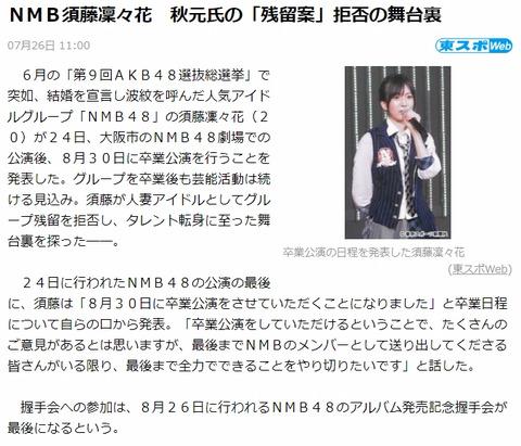 【NMB48】運営「須藤凜々花は金になるから解雇はありえなかった」