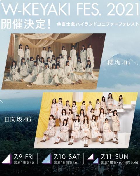 【炎上】櫻坂46と日向坂46の合同ライブ「W-KEYAKIFES2021」が批判殺到www