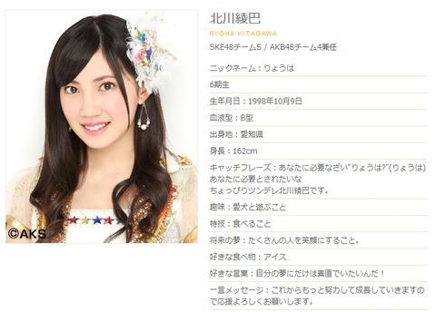 【SKE48】北川綾巴のニックネームは「りょうちゃん」でいこうぜ