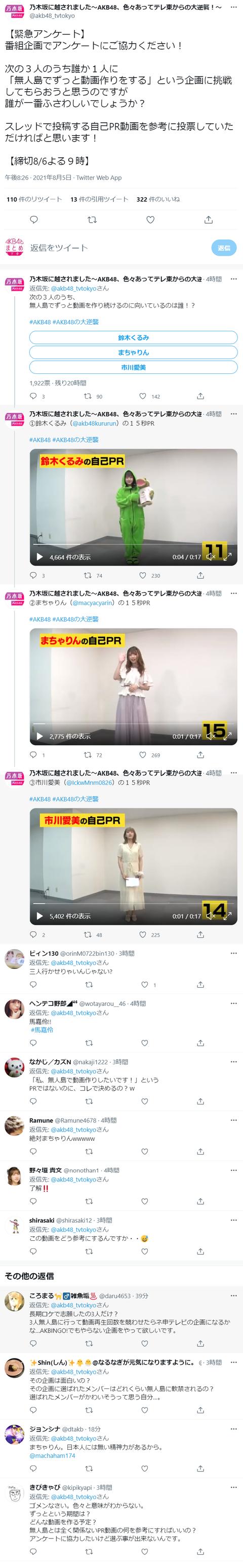 【AKB48】「乃木坂に越されました」番組企画アンケート