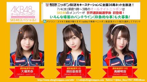 【ANN】今週のSKE48のオールナイトニッポンに松井珠理奈は出演せず