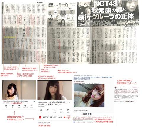 【悲報】週刊文春さん、太野彩香引越し記事の矛盾指摘ツイートを脅迫www【NGT48】