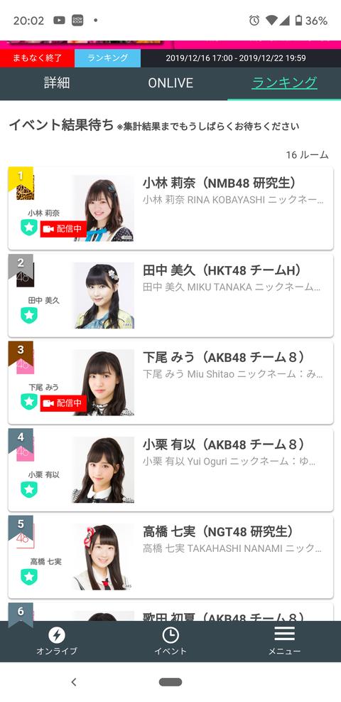 【SHOWROOM】TGCイベント17歳〜18歳枠、NMB48小林莉奈が暫定1位で終了!!!