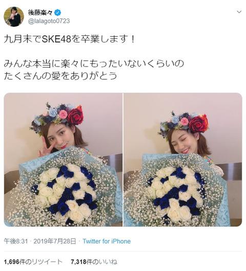 【SKE48】後藤楽々、劇場公演にて卒業発表