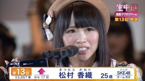 【SKE48】松村香織が今年の総選挙に出馬したら選抜入ると思う?
