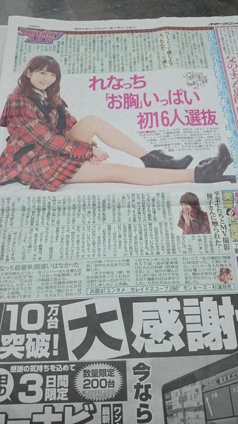 【AKB48】スポニチ「れなっち、完全に見つかる」【加藤玲奈】