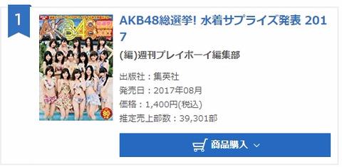 【AKB48G】「水着サプライズ2017」がオリコン初週39,301部で去年超え
