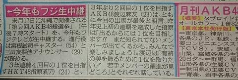 【悲報】AKB48 49thシングル 選抜総選挙、今年もフジテレビで生中継確定