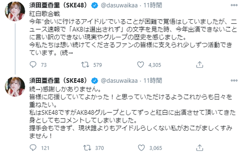 【SKE48】須田亜香里「ニュース速報で『AKBは選出されず』の文字を見た時、今年出演できないことに言い訳のできない現実やグループの歴史を感た」