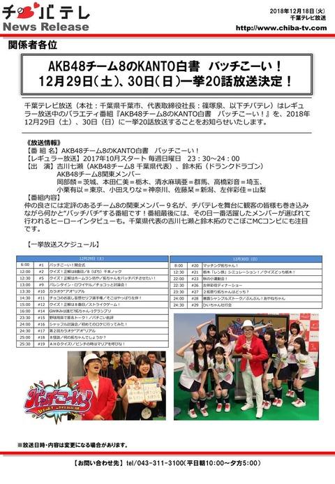 【朗報】千葉テレビでチーム8の冠番組 一挙放送!!!【AKB48チーム8のKANTO白書 バッチこーい!】