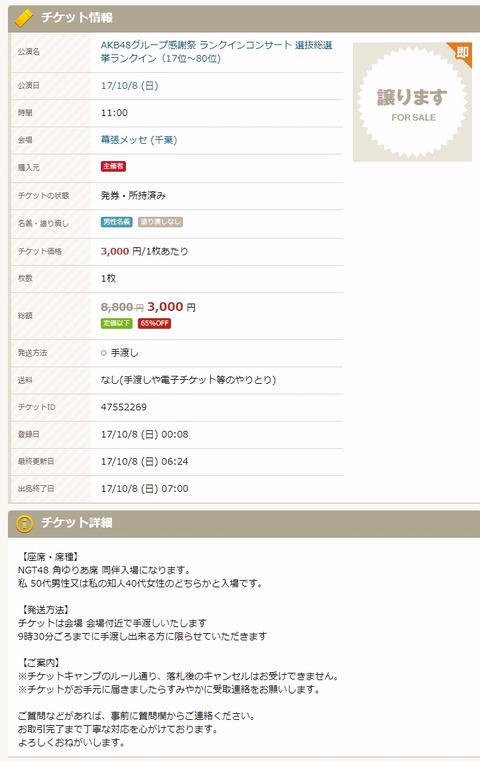 【悲報】NGT48角ゆりあ席、チケキャンで3,000円で投げ売り、しかも買い手つかず
