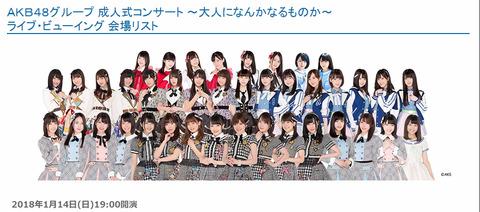 【AKB48G】TDCホールコンサート4公演のライブビューイング開催決定!【1/13、1/14】