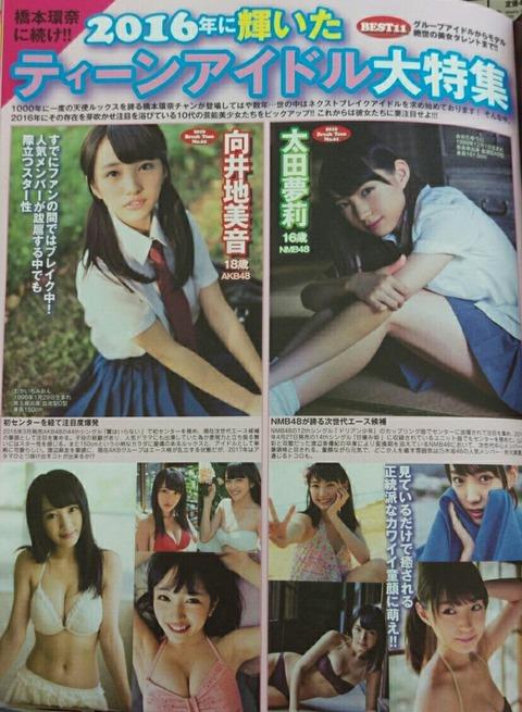 【朗報】2016に輝いたティーンアイドルに太田夢莉と向井地美音が選ばれる!