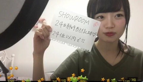 【NGT48】中井りか総選挙公約、「24位以内でSHOWROOM24時間配信」www