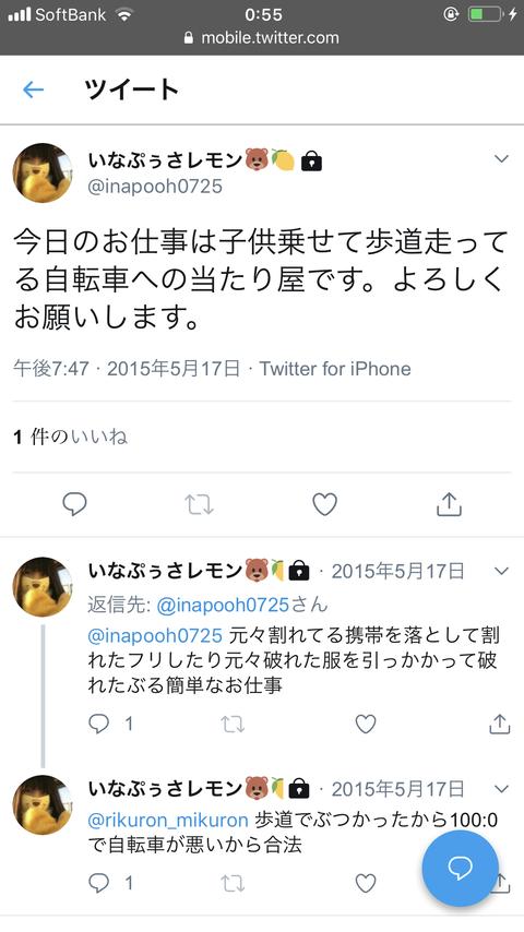 【ガチクズ】稲岡龍之介(いなぷぅさレモン)、子どもを乗せて走るママの自転車に当たり屋して金を稼いでいた