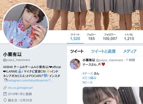 【朗報】AKB48小栗有以さん、Twitterフォロワー10万人達成!【ゆいゆい】