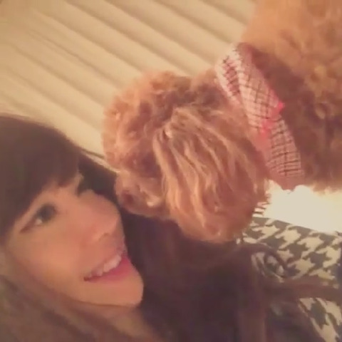 小嶋陽菜と愛犬みみの戯れ動画がかわいい
