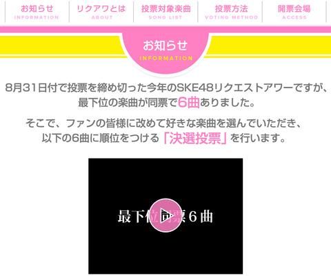 【悪趣味】SKE48リクアワ最下位曲順位決定投票のお知らせ