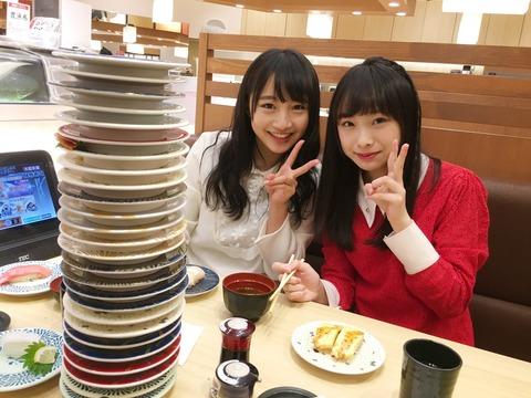 【育ち盛り】NMB48未来のWエース梅山本がBUBUKAのおごりで回転寿司を山ほど食ってるwww【山本彩加・梅山恋和】