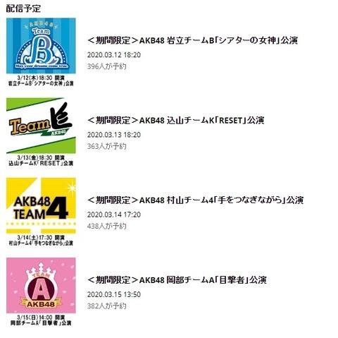 【朗報】AKB48劇場で配信限定公演開催決定!【3月12日~3月15日】