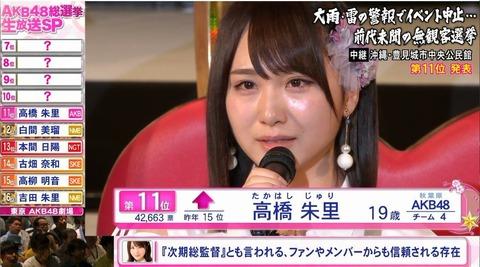 【AKB48総選挙】高橋朱里が須藤凜々花にブチギレ「総選挙で結婚するとか言うな」