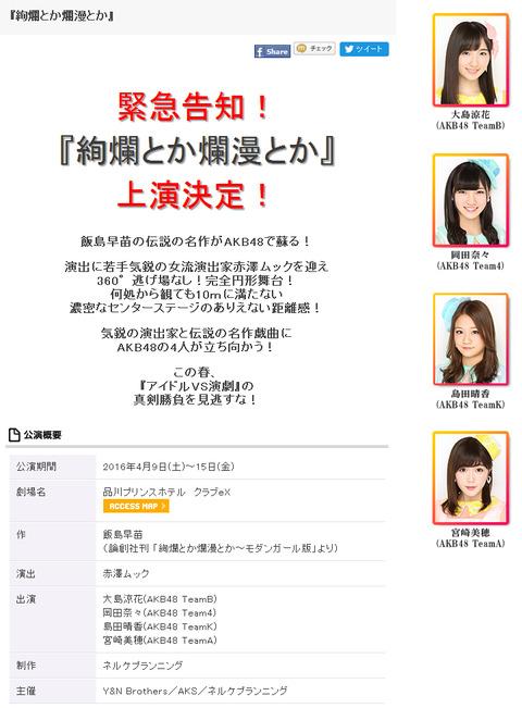 【AKB48】島田晴香、宮崎美穂、大島涼花、岡田奈々の4人舞台が決定!【絢爛とか爛漫とか】