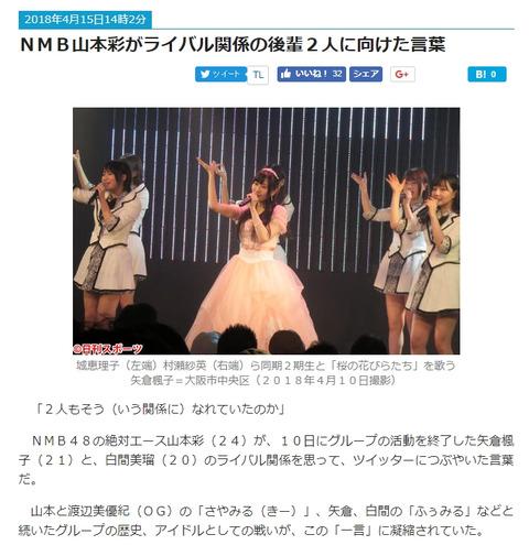 【悲報】日刊スポーツのNMB担当、白間美瑠を山本彩の後輩扱いwww