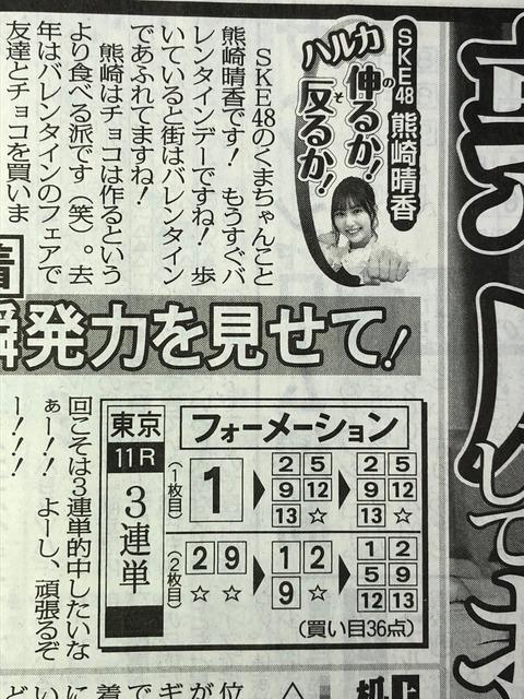 【朗報】SKE48熊崎晴香さん東京新聞杯3連単的中12万5560円!