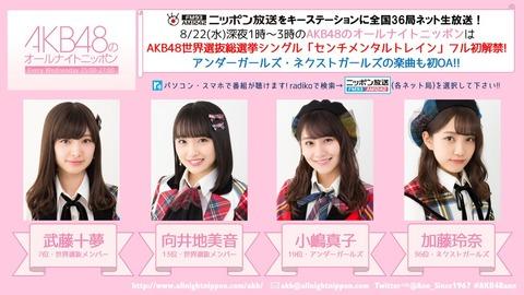 【AKB48】今夜のオールナイトニッポンは武藤十夢、向井地美音、小嶋真子、加藤玲奈