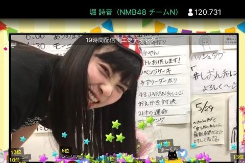 【NMB48】堀詩音が19時間SHOWROOM配信に挑戦!最後は12万人突破!!!