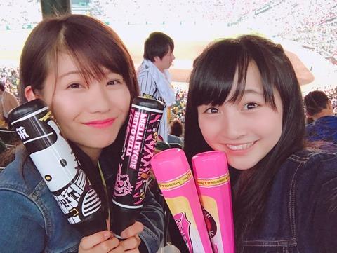 【朗報】NMB48山本彩加と谷川愛梨が阪神タイガースの歴史的大逆転勝利を現地で目撃!!!