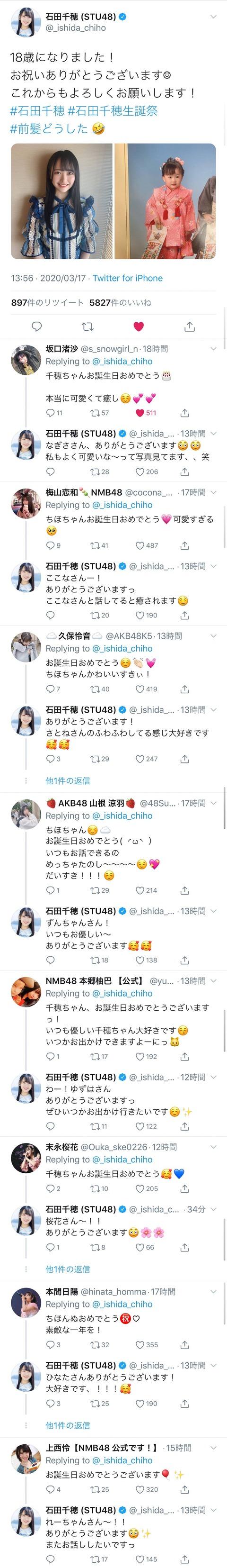 【朗報】STU48石田千穂ちゃんが他店の若手メンバーに大人気!!!