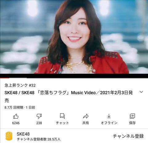 【悲報】SKE48松井珠理奈卒業シングル「恋落ちフラグ」MV、24時間で8万再生
